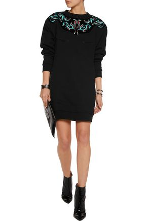 JUST CAVALLI Embellished velvet-paneled cotton-blend mini dress