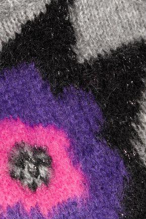 JUST CAVALLI Metallic intarsia-knit mini dress