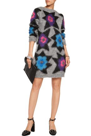 JUST CAVALLI Metallic intarsia-knit mini dress