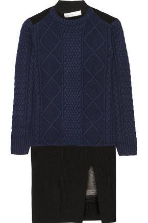 SACAI LUCK Luck satin-trimmed wool mini dress