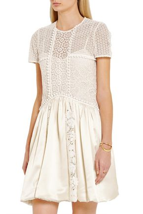 BURBERRY Macramé lace and silk mini dress