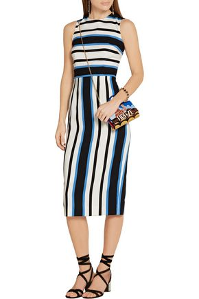DOLCE & GABBANA Striped stretch-silk crepe midi dress