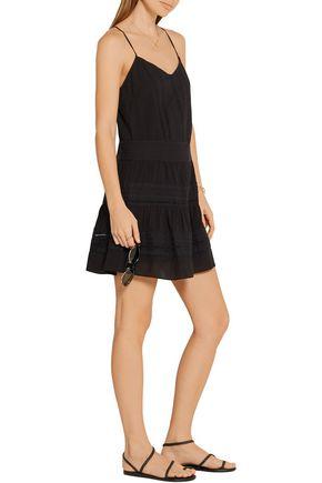 FRAME Le Lace pointelle-trimmed cotton mini dress