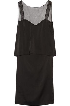 MAISON MARGIELA Open-back mesh-trimmed satin dress