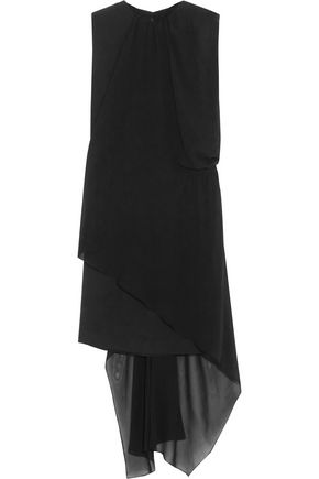 MAISON MARGIELA Light Enver chiffon-paneled washed-satin dress