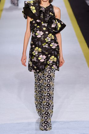 GIAMBATTISTA VALLI Ruffled one-shoulder floral-jacquard mini dress
