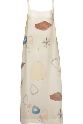 ADAM LIPPES Tie-back printed silk midi dress