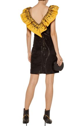 MOSCHINO Ruffled printed crepe-trimmed taffeta mini dress