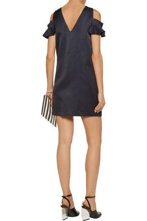 MSGM Cutout textured-satin mini dress