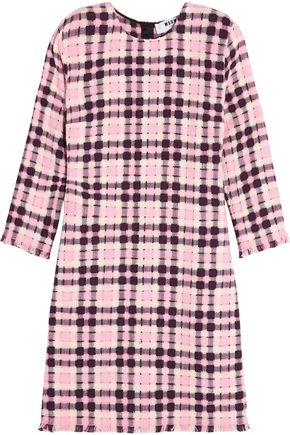 MSGM Open-weave cotton-tweed mini dress
