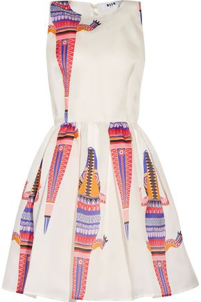 MSGM Pleated printed silk-faille mini dress