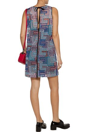 MSGM Layered embroidered tulle mini dress