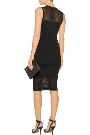 LINE Open knit-paneled bandage dress