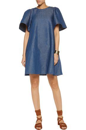 CO Cotton-blend chambray mini dress