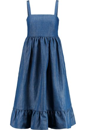 CO Pleated cotton-blend chambray dress