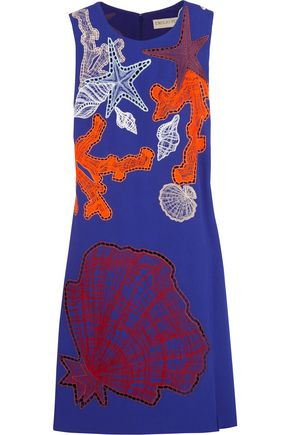 EMILIO PUCCI Broderie anglaise-paneled crepe mini dress