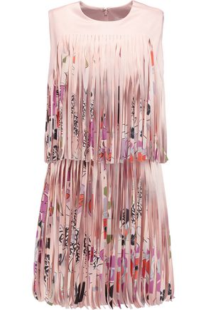 ALEXIS Eleanor fringed printed satin mini dress