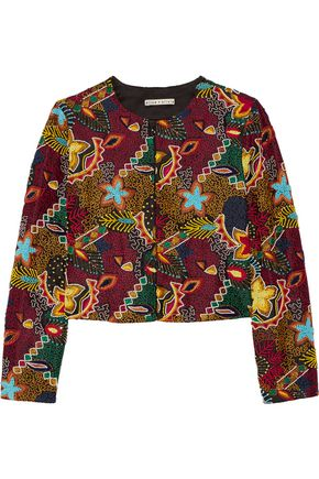 ALICE + OLIVIA Lainey embellished embroidered crepe jacket
