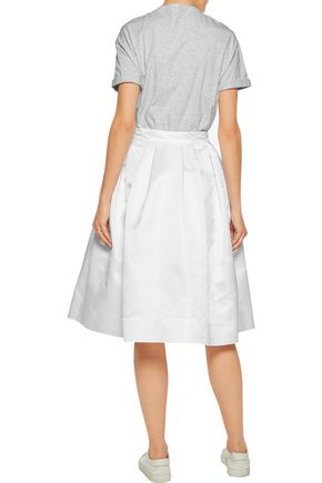 BRUNELLO CUCINELLI Pleated embellished cotton-jersey and satin dress
