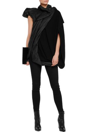 RICK OWENS One-sleeve paneled leather and wool -blend jacket