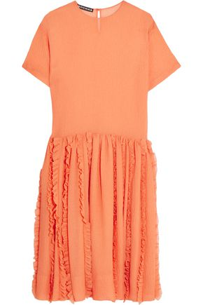 ROCHAS Pleated hem crinkled-silk dress