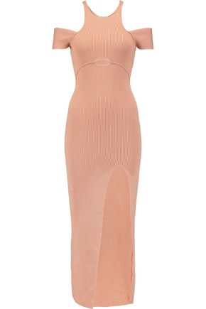 SELF-PORTRAIT Cutout ribbed stretch-knit midi dress