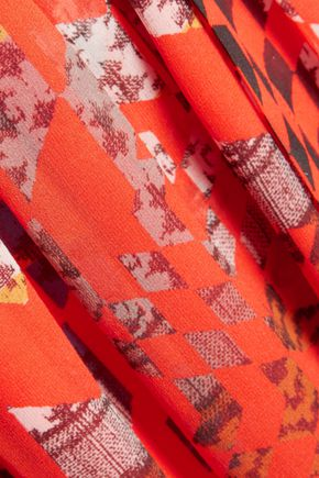 PREEN by THORNTON BREGAZZI Lace-up pleated printed silk-chiffon midi dress