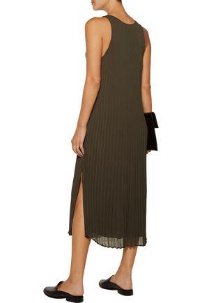 ENZA COSTA Pleated chiffon midi dress