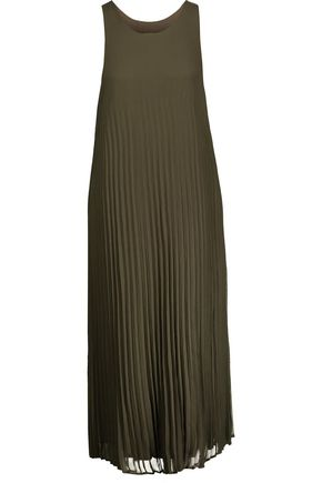 ENZA COSTA Pleated chiffon midi dress