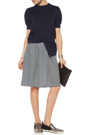 Marc By Jacobs Layered Stretch Knit And Gingham Voile Dress