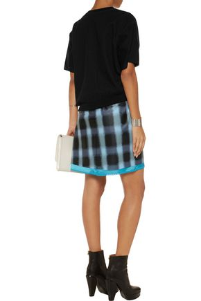 MARC BY MARC JACOBS Paneled cotton-chambray, jersey and faux leather mini dress