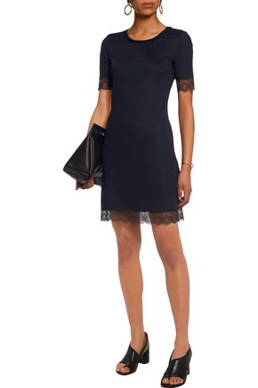 3.1 PHILLIP LIM Silk and lace-trimmed ribbed-knit mini dress