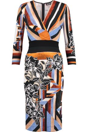 JUST CAVALLI Printed cady dress