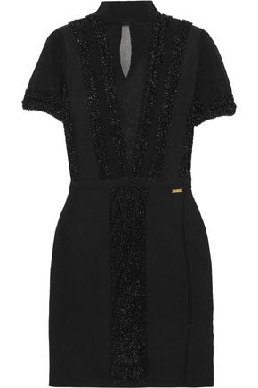JUST CAVALLI Fil coupé-trimmed mesh and stretch-knit mini dress