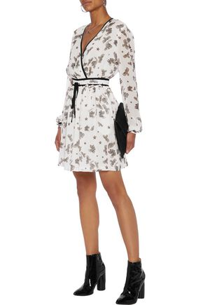 JUST CAVALLI Gathered printed georgette mini dress