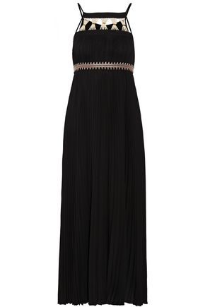 RACHEL ZOE Gwynn embellished pleated voile midi dress