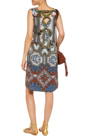ETRO Lace-up printed silk dress