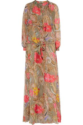 ETRO Ruched printed silk-chiffon maxi dress