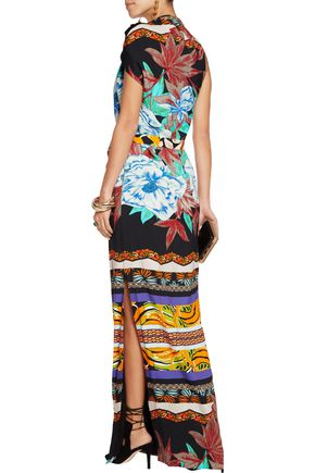 ETRO Asymmetric belted printed twill maxi dress