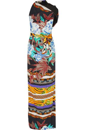 ETRO Asymmetric belted printed twill maxi dress