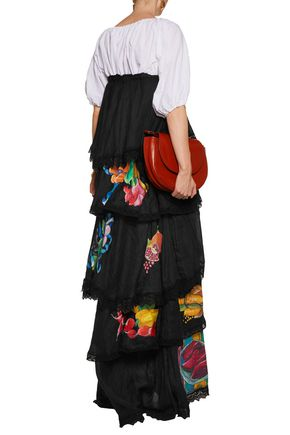 STELLA JEAN Strapless tiered printed linen maxi dress