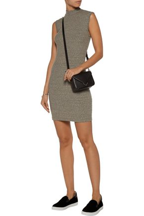 ENZA COSTA Marled ribbed-knit mini dress
