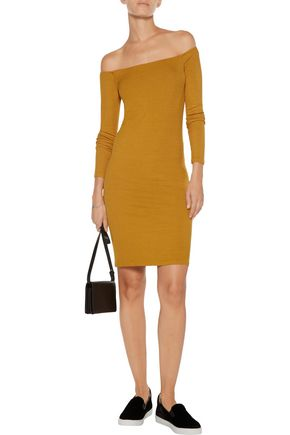 ENZA COSTA Off-the-shoulder ribbed-knit mini dress
