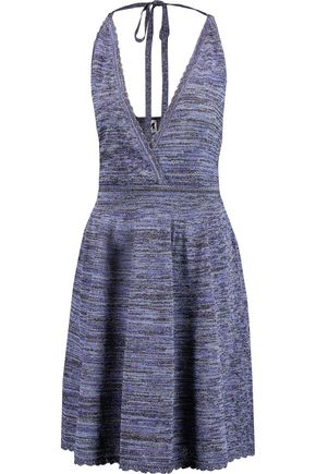 M MISSONI Metallic crochet-knit halterneck dress