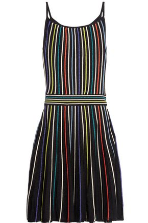 M MISSONI Metallic striped ribbed-knit dress