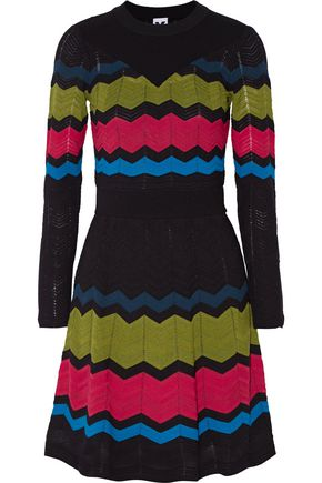 M MISSONI Pleated crochet-knit mini dress
