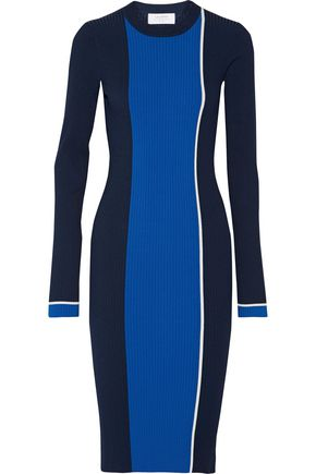 LA LIGNE Streamline color-block rib-knit dress