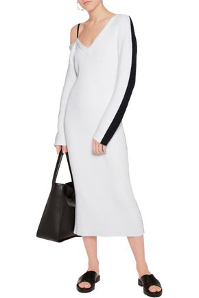 RAG & BONE Felice one-shoulder two-tone ribbed cotton-blend dress