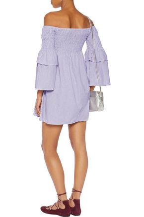 W118 by WALTER BAKER Aaron off-the-shoulder shirred striped cotton mini dress