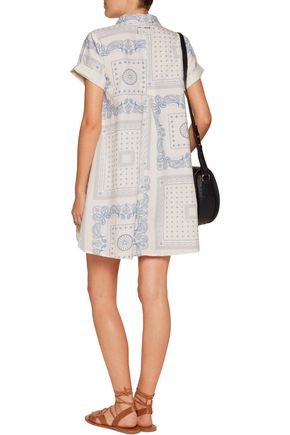 CURRENT/ELLIOTT The Rolled Sleeve printed cotton mini dress